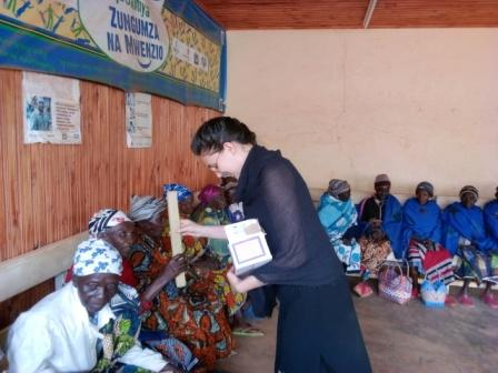 Nicole with Seniors at Seniors' Day center in Njombe Tanzania